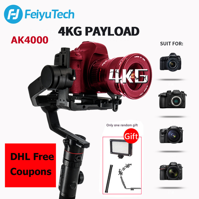 Gimbal FeiyuTech AK4000 3 Axis el Gimbal kamera sabitleyici dslr Sony Canon 5D Panasonic D850 pk dji ronin s