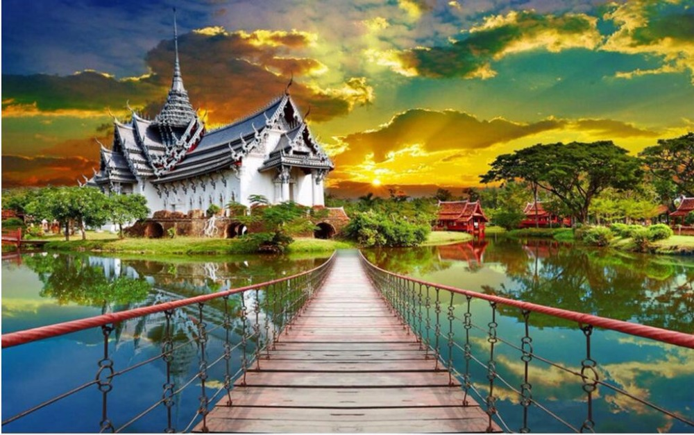 Custom mural photo 3d room wallpaper Thai architectural home decoration painting picture 3d wall murals wallpaper for wall 3 d 3d wall murals wallpaper for living room walls 3 d photo wallpaper sun water falls home decor picture custom mural painting
