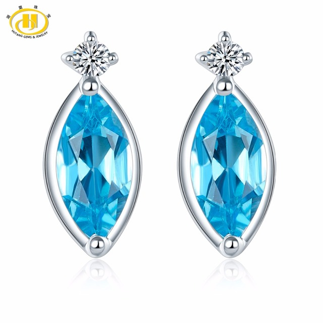Butterfly Fashion Silver Earrings Natural Blue Topaz For Women Sterling Jewelry Long Hook Marquise Shape cHiQ3rM