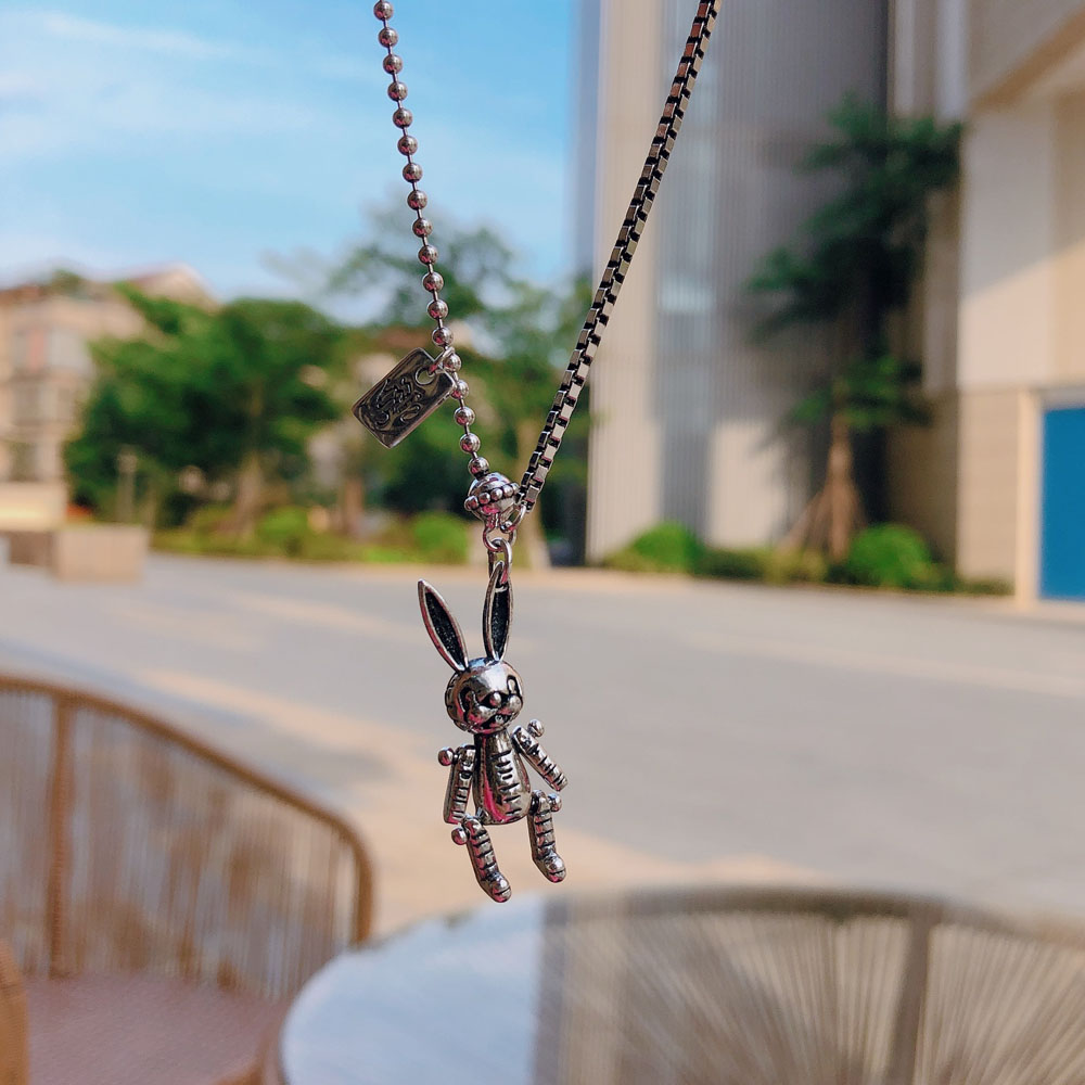 Cute Pure 925 Sterling Silver Vintage Animal Rabbit Charm Necklaces Lovely Collier Choker Children Jewelry Birthday Gifts in Necklaces from Jewelry Accessories