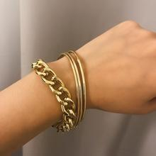 Thick Chain Fashion Combination Bracelet Set New Easy Matching Popular Bracelets Simple