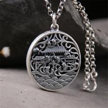 999 Sterling Silver 35*43MM Fish Carp Jump Longmen Design Necklace Pendants For Jewelry Bracelet 25.30g