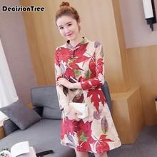 8ee23cd783bf89 2019 new improved women mandarin collar cheongsam dress woolen qipao red  elegant chinese style evening gowns