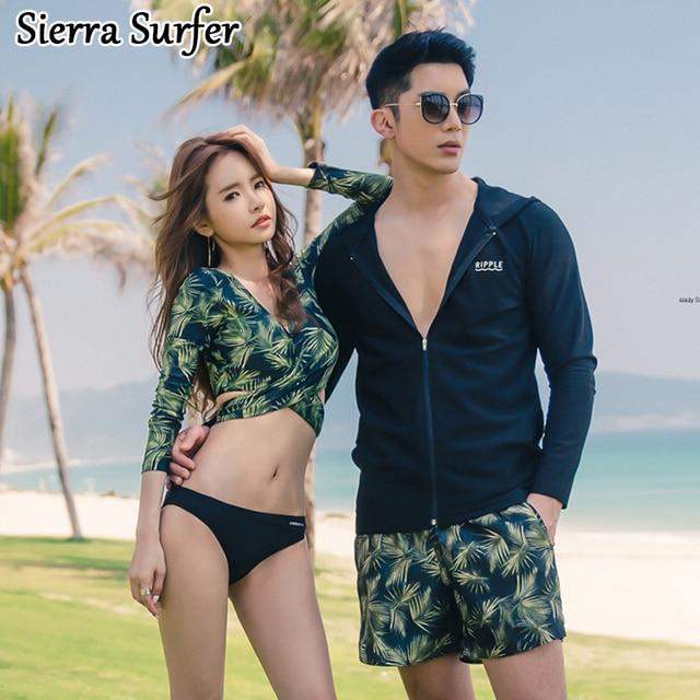 67e03b3e59 Swimming Suit For Women Rash Guard Surf Swimwear Female Korea 2018 New  Bikini Set Long Sleeve Leaves Couple 0016 Biquini Maillot