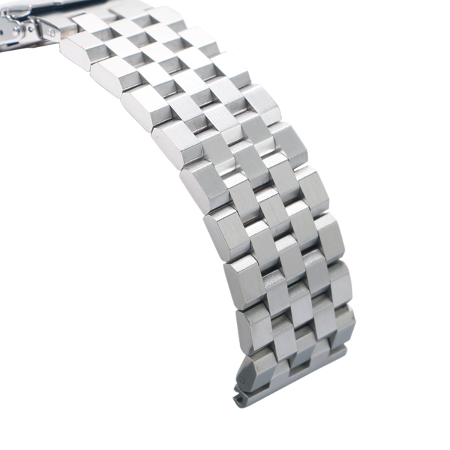 Silver/Black Top Stainless Steel Wrist Straps 20mm 22mm 24mm ...