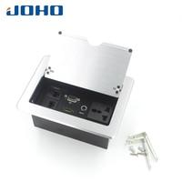 JOHO Desktop Socket Electrical Outlet Data VGA HDMI Audio Port Table Socket Aluminum Black Silver Panel EU Plug POP Cover Type