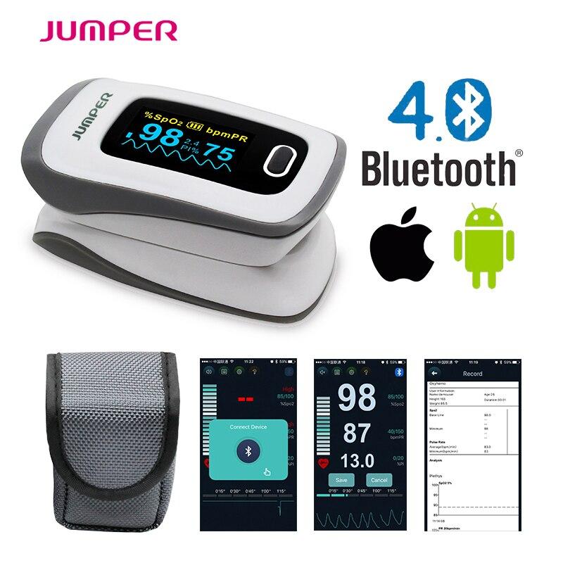 2018 JUMPER neueste Bluetooth Fingertip Pulsoximeter Oximetro de dedo Blut Sauerstoff Oximetro ein finger für Gesundheit Pflege