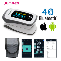 2018 JUMPER newest Bluetooth Fingertip Pulse Oximeter Oximetro de dedo Blood Oxygen Saturation Oximetro a finger for Health Care