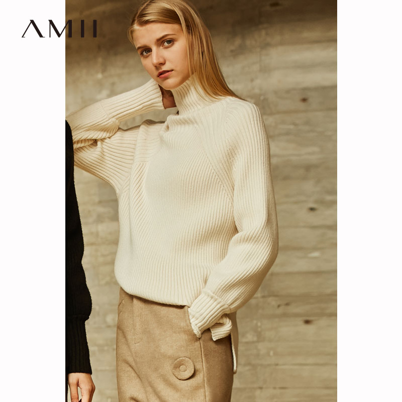 Amii Minimalist Turtleneck Black Sweater Women Autumn Winter 2018 Lazy Solid Harajuku Knitted Sweater Ribbed Fringe