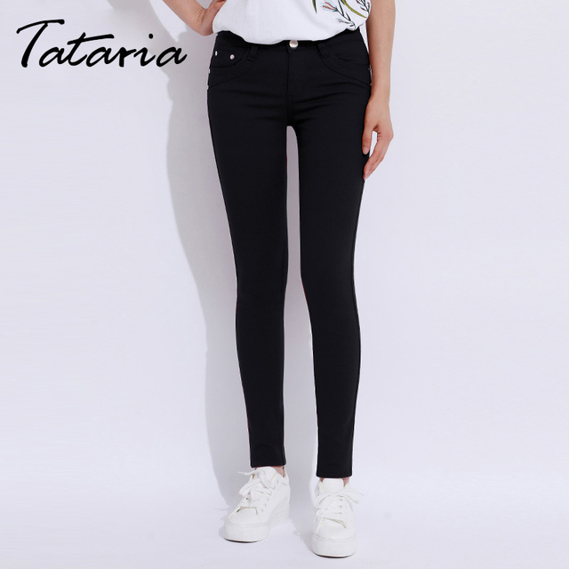 White Jeans Feminino Plus Size Candy Pantalon Femme Black Skinny Jeans Woman Long Pants Large Size Jeans For Women Tataria 9851
