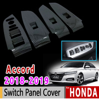 for Honda Accord X 2018 2019 Luxury Stainless Steel Chrome Carbon Fiber Switch Panel Cover Accessories Car Sticker Sticker