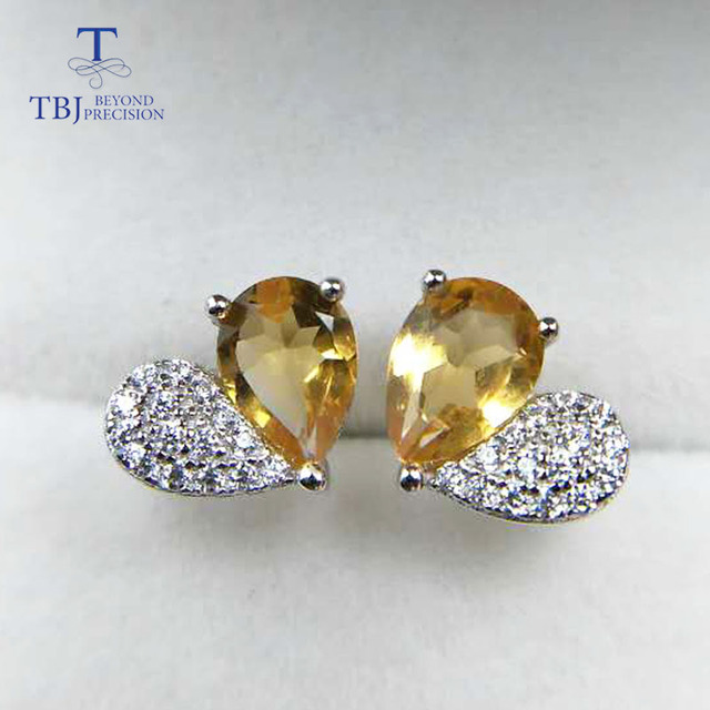 TBJ,Lovely Heart shape earring with nautral citrine pe5*7mm ,1ct up citrine gemstone earring for girls with gift box