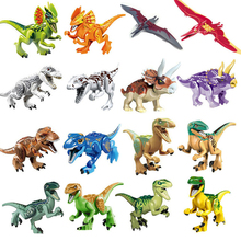 ФОТО single sale jurassic park dinosaur world tyrannosaurs pterosauria triceratops kids assembled toys animal building blocks for boy