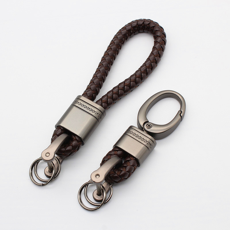 High Quality Woven Leather Keychain Detachable Metal Keyrings Key Chains Unisex Auto Key Ring Gift For Car Key Chain Holder L30