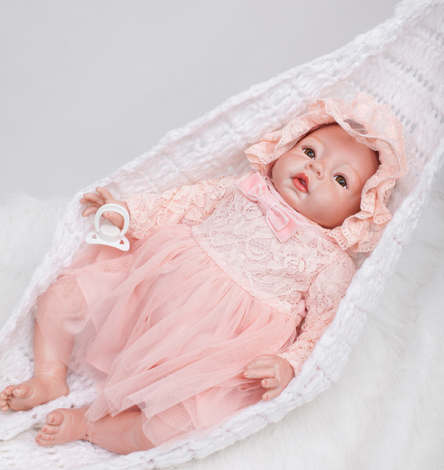 2016 New Newborn Little Princess Doll with Nice Pink Dress 55cm Lifelike Reborn Baby Soft Toys for Bouquets Doll Boneca