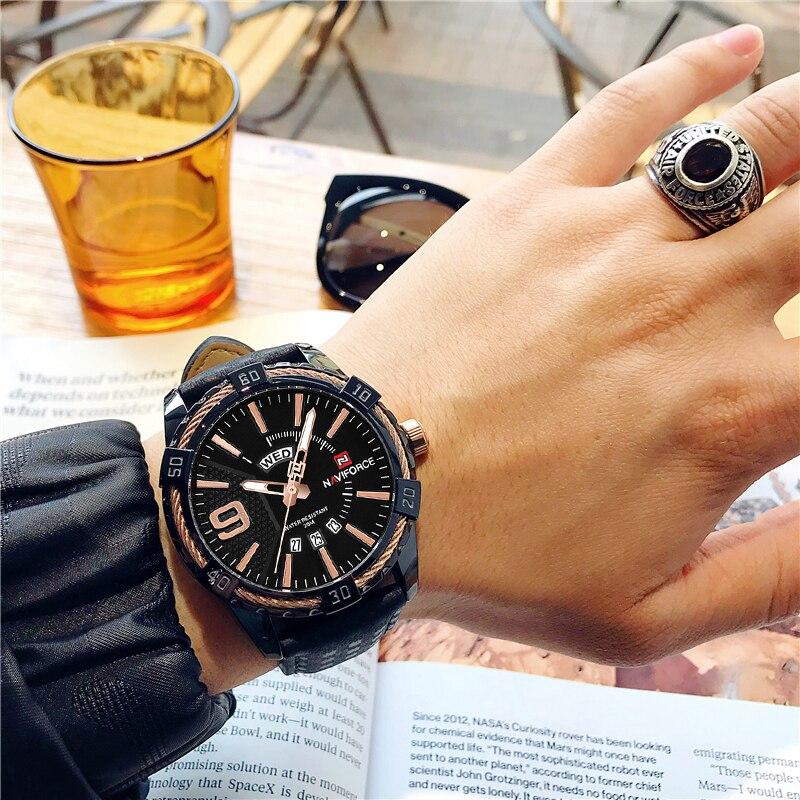 d5c9a6df2ef NAVIFORCE Criativo Relógio Marca de Luxo Homens Esportes Relógios dos homens  À Prova D  Água relógios de Pulso de Quartzo Homem Relógio Masculino Relogio  ...