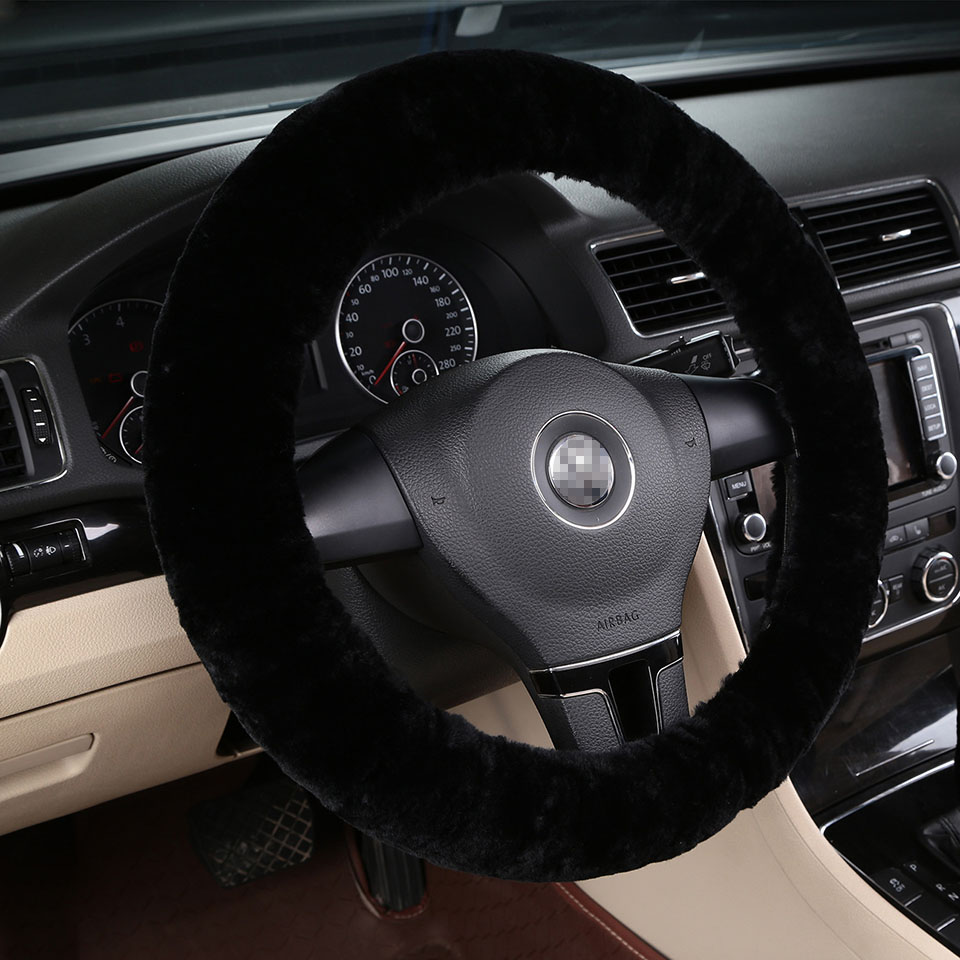 100% Natural Sheepskin Wool Stretch-On Winter Car Steering Wheel Cover 36 38 40cm Black Interior Accessories AutoStyling car window curtains legal