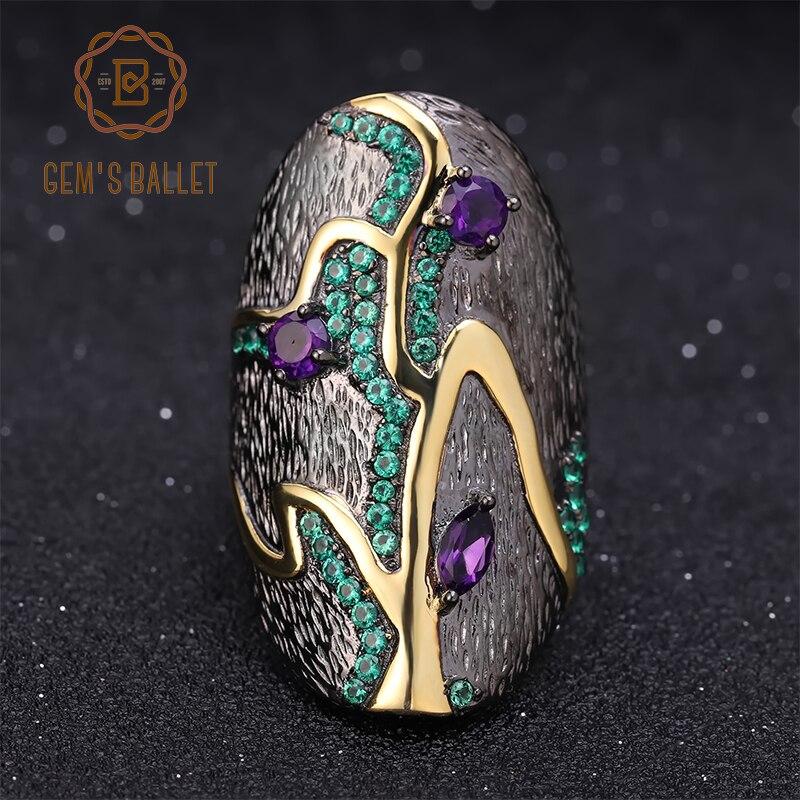 GEM'S バレエジョージア · オキーフ 0.80Ct 天然アメジスト 925 スターリングシルバー手作り指輪分岐パターン女性のための  グループ上の ジュエリー & アクセサリー からの 指輪 の中 1