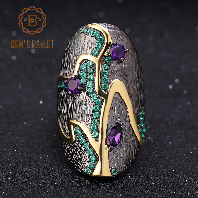GEM'S BALLET Georgia O'keeffe 0.80Ct Natural Amethyst 925 Sterling Silver Handmade Finger Rings Branch Pattern Ring for Women-in Rings from Jewelry & Accessories    1