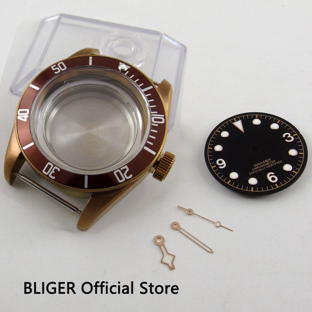 41MM Sapphire Glass Coffee PVD Coated Stainless Steel Watch Case+Dial+Hands Fit For ETA 2824 2836 Automatic Movement C102 watch parts 41mm watches case for wristwatch black pvd coated cases fit for eta 2836 2824 automatic movement ca2010cap