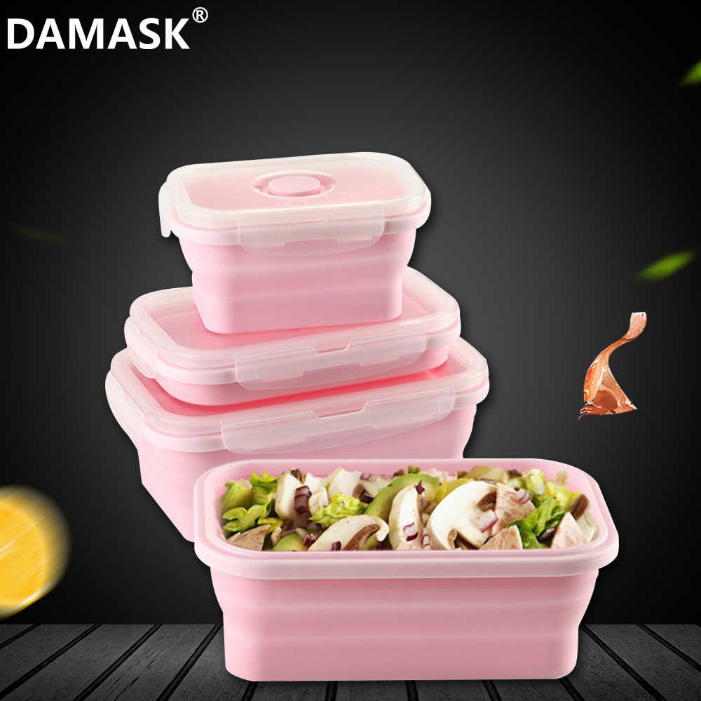 Damask Collapsible Silicone Food Storage Container Set Of 4 Rectangle Lunch Box Portable Folding Bento Box BPA Free Microwavable