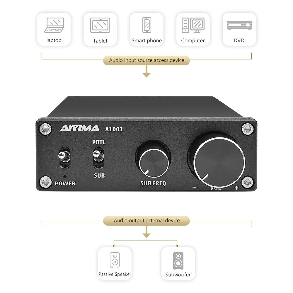 Image 2 - AIYIMA TPA3116D2 wzmacniacz subwoofera klasy D HiFi Mono cyfrowy wzmacniacz Audio wysokiej mocy wzmacniacz 100W DC12 24V kina domowegoWzmacniacz   -