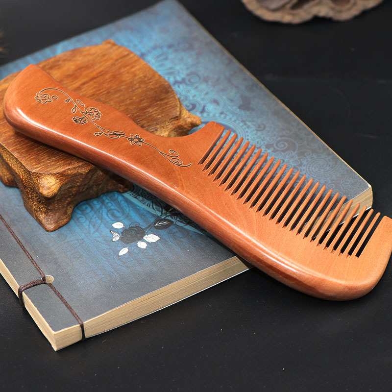 L53 Sandalwood comb custom lettering Boutique peach wood comb static hair loss comb l64 sandalwood comb green tan comb mini sandalwood comb page 7