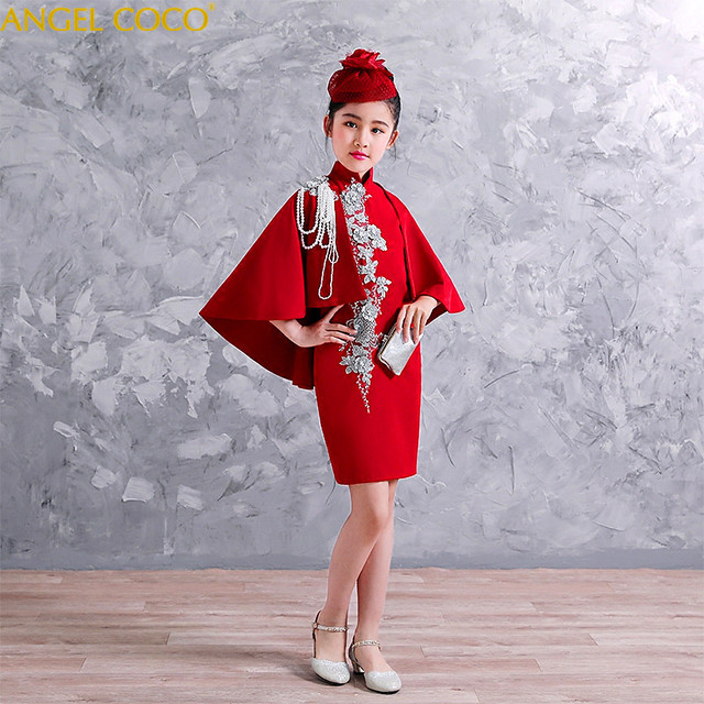2-Piece Children'S Dress Chinese Style Model Catwalk Dress Modified Cheongsam Dress Shawl Girl Zither Performance Clothing  2018