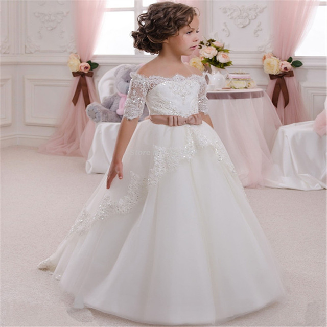 First Communion Dress Hollow Back Lace Up Appliques Half Sleeves Bow Shoulderless Ruffle Baby Girl Christmas Tulle Ball Gown green crew neck roll half sleeves mini dress