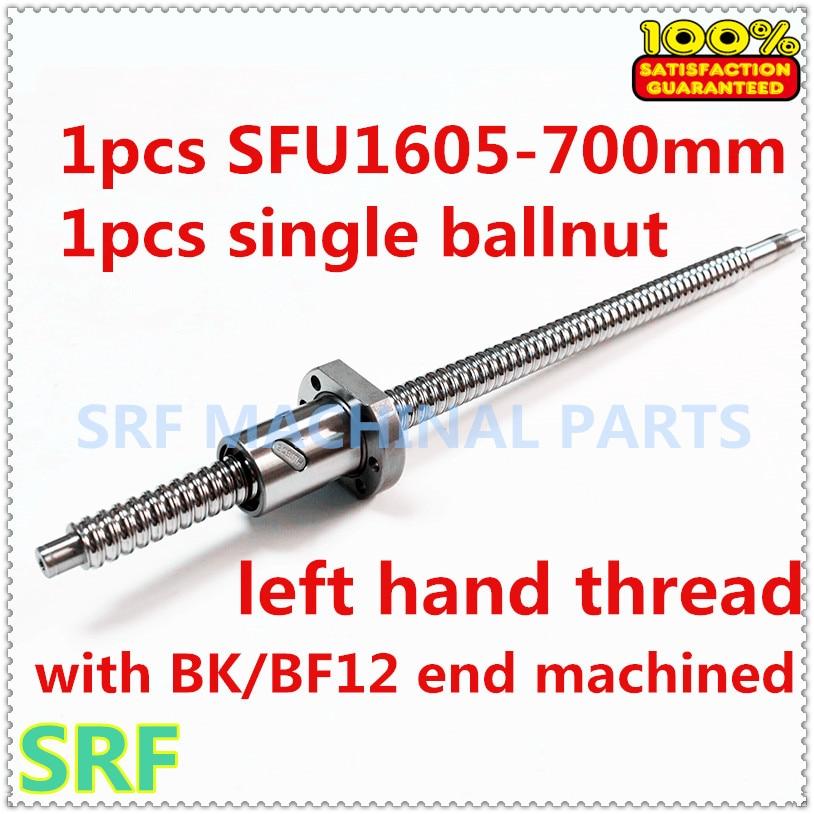 Haute qualité 1 pcs 16mm gauche virage Rotation vis à billes SFU1605 L = 700mm + 1 pcs SFU1605 vis à Billes écrou avec BK/BF12 fin usiné