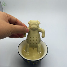 YI HONG Lovely Kawai Portable Dog Tea Strainers Pug In A Mug Silicone Tea Infuser Free Shipping A1332c