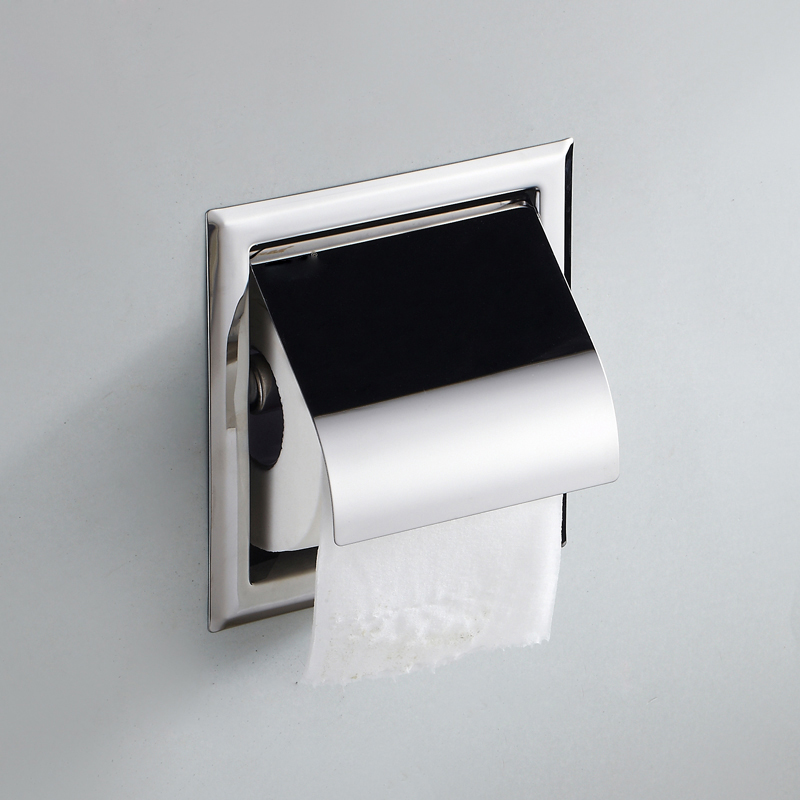 stainless steel bathroom tissue box wall mounted square embedded chrome finish toilet paper holder bathroom accessories in paper holders from home