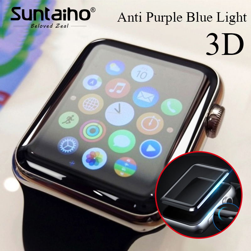 Suntaiho 3D Full gel glass film for Apple Watch 38 42mm 3D Soft Edge Anti Purple Blue light Screen Protector Film for i Watch