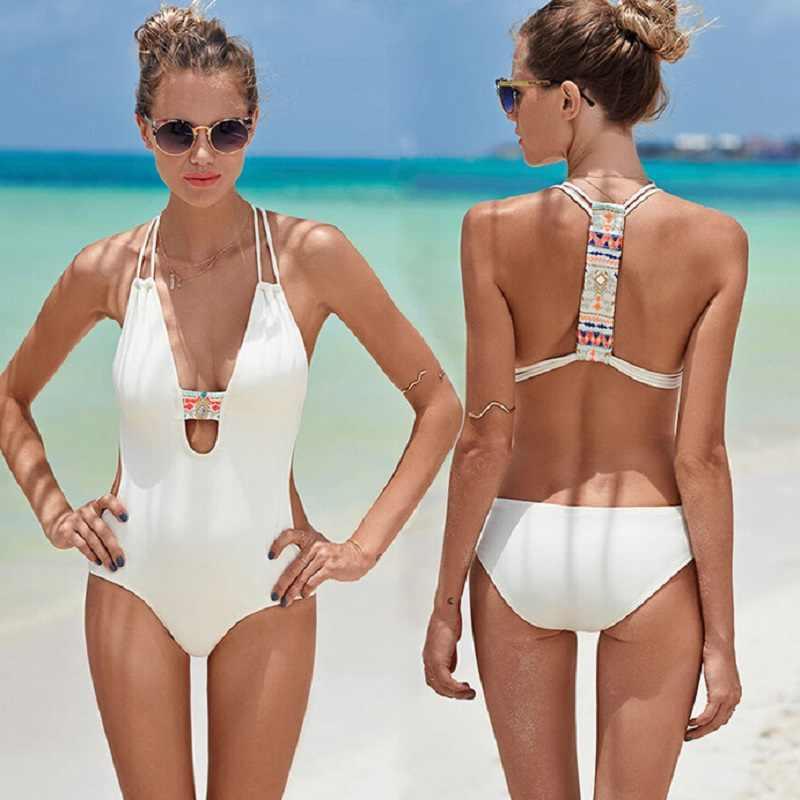 a47a625027ef2 Black White cross back bodysuit Monokini Sexy one piece swimsuit Backless Swimwear  Women Bathing suit Beachwear