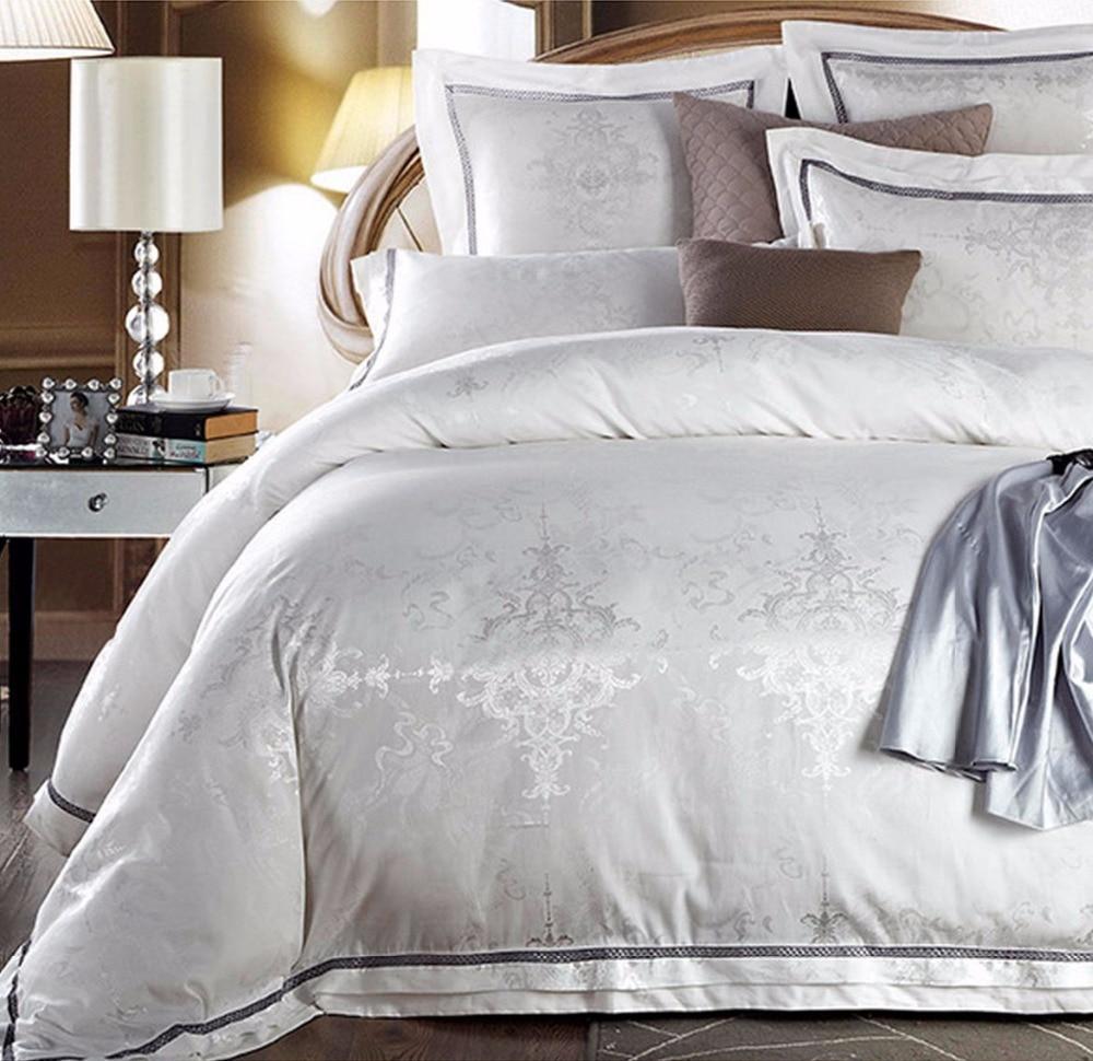 Ensembles de literie de luxe jacquard blanc, 100% coton reine roi soie hommage, vintage textiles de maison lit taie d'oreiller en lin housse de couette