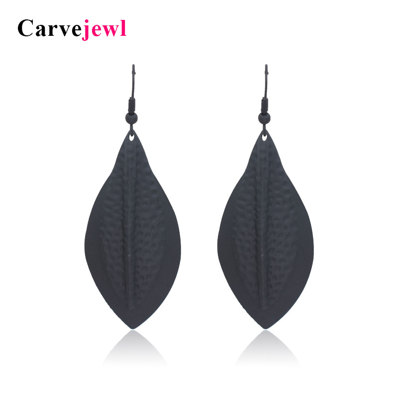 Carvejewl earring leaf dangle earrings for women jewelry girl gift matte gold black plating bohemian hot sale  bijoux