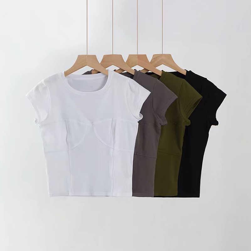 Style américain et européen femmes buste Design haut rigide t-shirt o-cou décontracté 4 couleurs femmes été solide à manches courtes haut