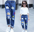 Children Broken Hole Pants Trousers 2016 Autumn Brand Baby Boys Girls Jeans Fashion 2-7Y kids clothes baby girl clothes