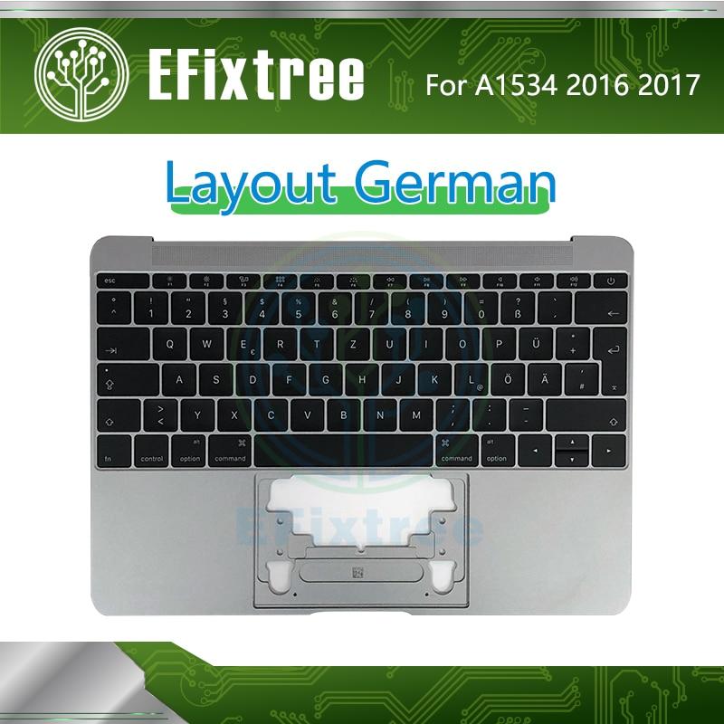 テスト A1534 キーボードドイツトップケースとトップケース Macbook 12 インチの retina A1534 Palmrease GR キーボード 2016 2017 スペースグレー  グループ上の パソコン & オフィス からの 交換用キーボード の中 1