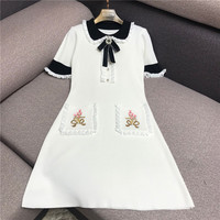 Luxury Designer Brand Knitted Dress for Women Hepburn Vintage Peter Pan Collar Bow Embroidery Ice Silk Knitted Dress