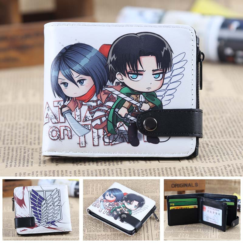 Attack on Titan Anime wallet Leather pu short Bifold Purse Cosplay coin purse japan anime death note wallet cosplay long leather pu zipper purse