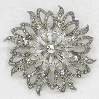 White Marquise Clear Rhinestone Flower Pin Brooches Bridal Wedding Party Jewelry Gift C716 A