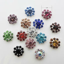 100pcs/lot 12MM Metal Rhinestone Buttons Multi Colors Wedding Embellishment Hair Flower Center Crafts DIY scrapbooking Supplies
