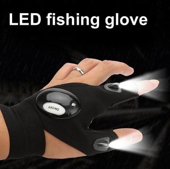 1 sztuk oświetlenie rękawica noc naprawa samochodów rękawica led light noc lampa wędkarska rękawica wiszące lampy przynęty noc akcesoria wędkarskie tanie i dobre opinie led glove Anti-slip Pół palca