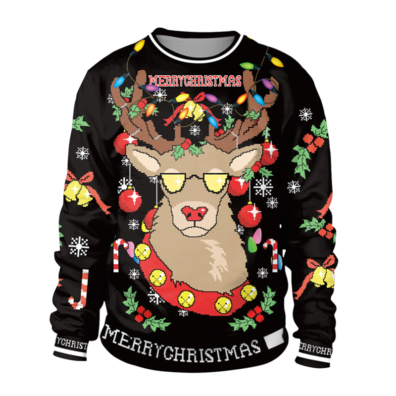 2019 Ugly Christmas Sweater For Gift Santa Elf Funny Pullover Womens Mens 3D Jerseys And Sweaters Tops Autumn Winter Clothing