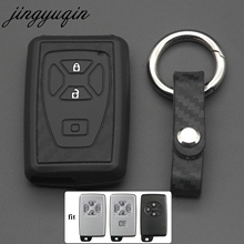 Jingyuqin 탄소 실리콘 자동차 키 커버 케이스 도요타 Estima Alphard Vellfire 2/3/4/5 버튼에 적합 원격 스마트 열쇠가없는 쉘