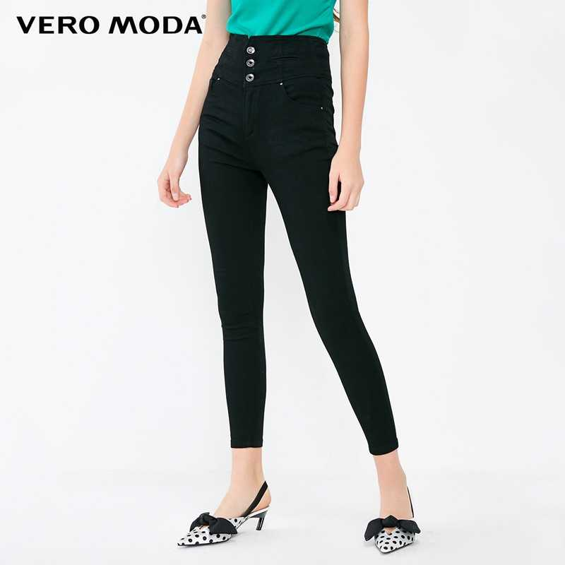 Vero Moda New Women's Decorative Buttons High Waist Stretch Slim Fit Cropped Jeans | 318349518