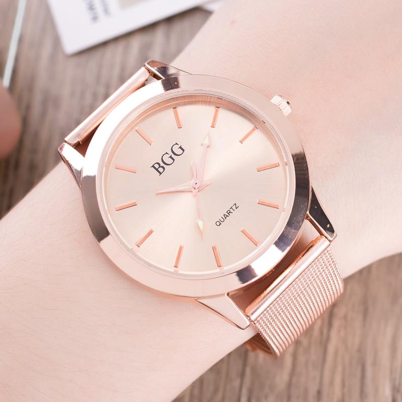 Top Luxury Brand BGG Women Fashion Watch Stainless Steel Strap Gold Simple Dial Ladies Charm Dress Waterproof Quartz Wristwatch