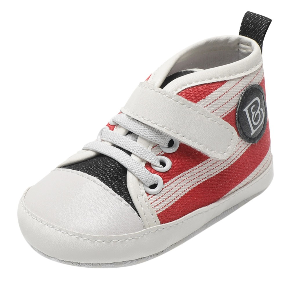 Newborn Toddler Baby Girls Boys Canvas Shoes Striped Print Soft Sole Boots Hot