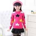 Hot Sale 2015 Girl Pullover Sweaters Thick Wool Blend Star Pattern Girls Knitted Sweater
